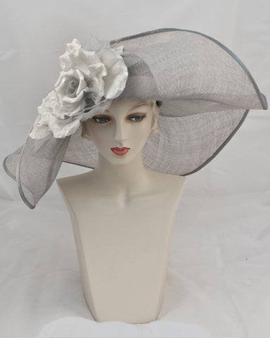 0934OFSP Off Face Floppy, Parisisal crown/sinamay brim, gunmetal/grey