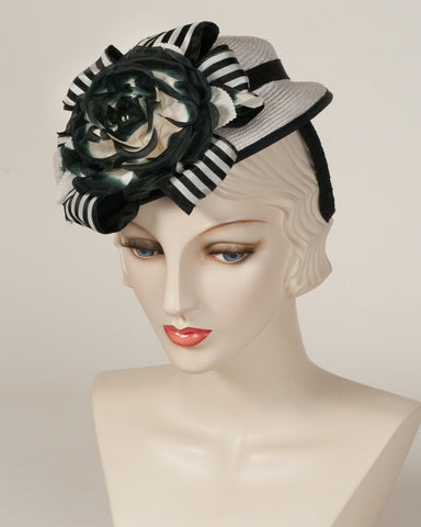 9368DHPS Doll Hat, white with black