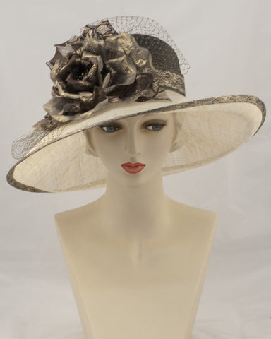 0936GCSP Grace, Parisisal crown/sinamay brim, espresso/natural