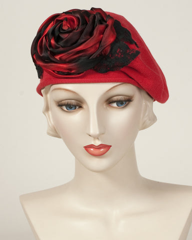 9416SBC Small Cotton Beret, scarlet with black