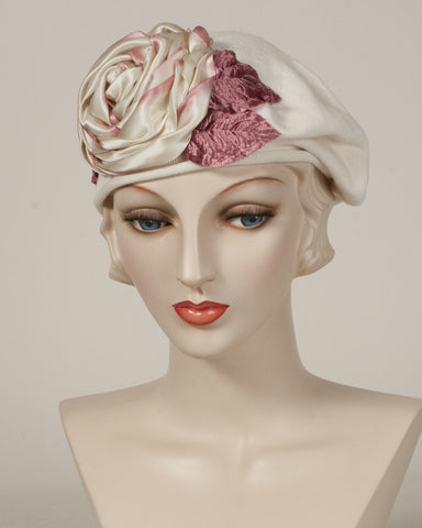 9416SBC Small Cotton Beret, ivory with pale rose