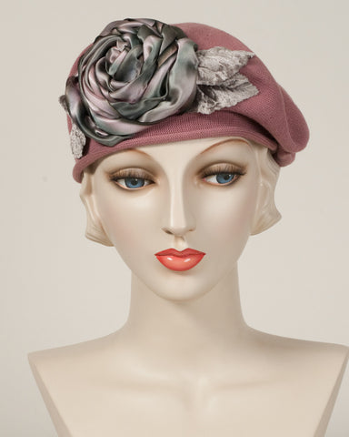 9416SBC Small Cotton Beret, dusty rose with grey