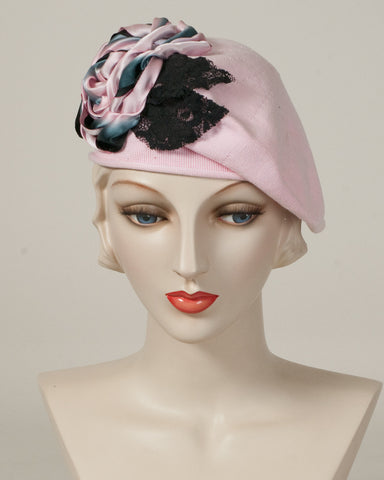 9416SBC Small Cotton Beret, pink with black