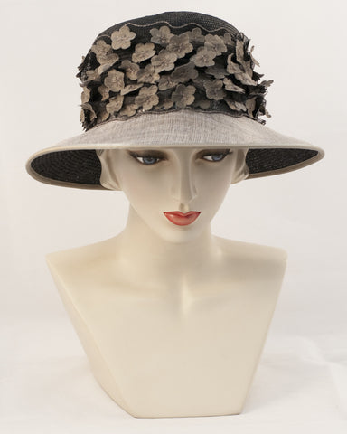 0945JESP Jamie, Parisisal crown/sinamay brim, black with black silver