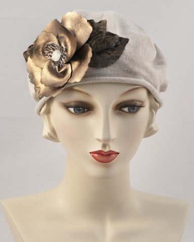 0951SBC Small Beret, sand with brown