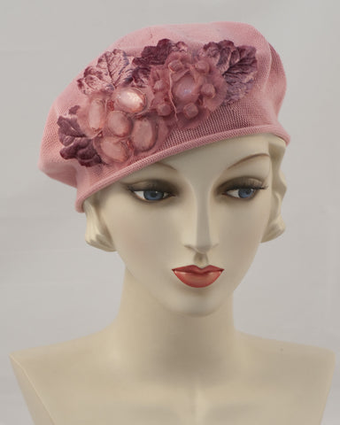 0953SBC Small Beret, antique rose