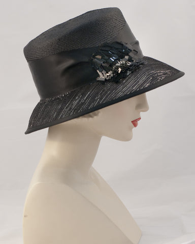 0954JESP Jamie, Parisisal crown/sinamay brim, black with black silver