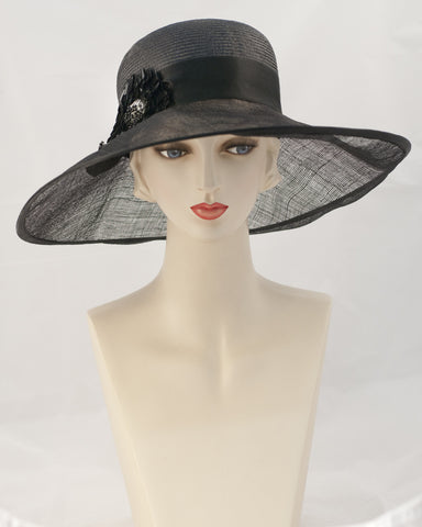 0955GCSP Grace, Parisisal crown/sinamay brim, black