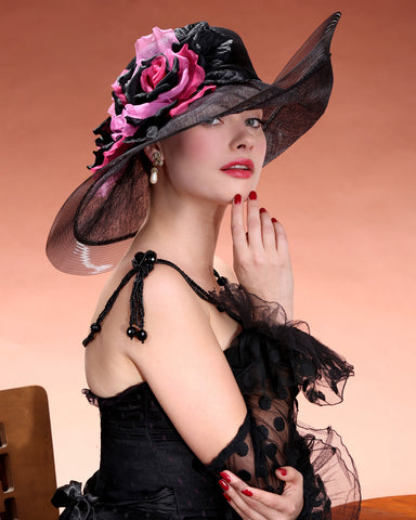0956VGSP Virginia, Parisisal crown/sinamay brim, black with hot pink