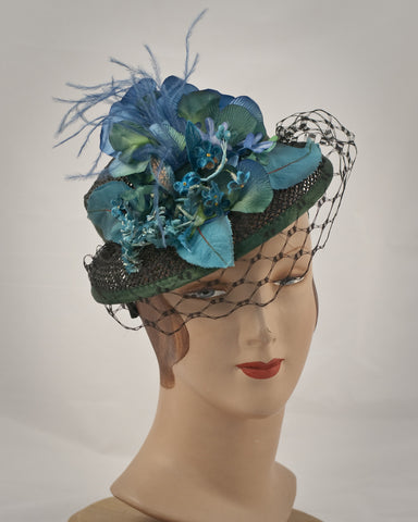 0966DHOW Doll Hat, open weave, black with turquoise