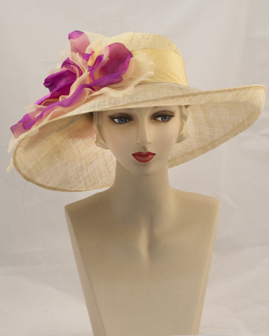 0992GCSP Grace, sisal crown/sinamay brim, lemon with cerise