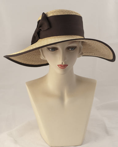 0993WSSB Wide brim sailor, sewn braid, wheat with brown