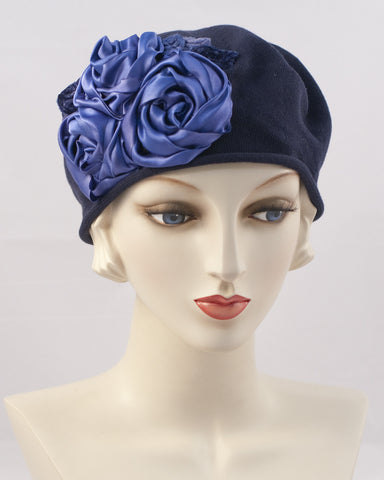0999SBC Small Beret Cotton,  navy
