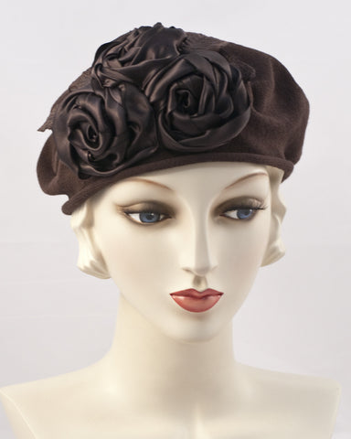 0999SBC Small Beret Cotton,  dark brown