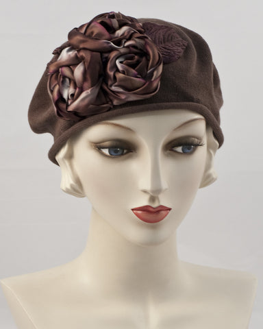 0999SBC Small Beret Cotton,  light brown