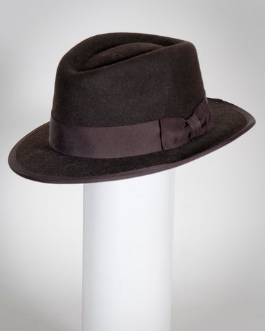 "F0361 David, sueded finish felt, dk brown, 2"" brim, Headsize 23 1/4"""
