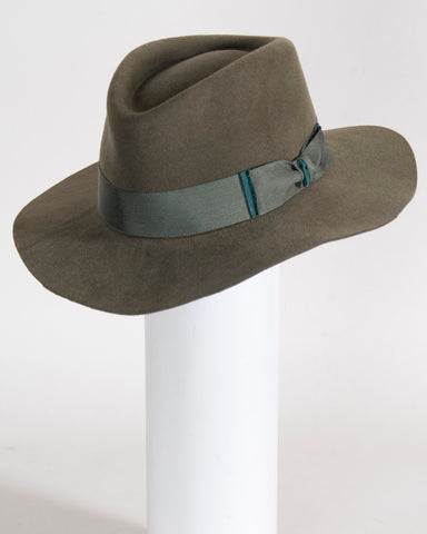 "F0372 David, sueded finish felt, sage,  3"" brim, Headsize 23 1/4"""