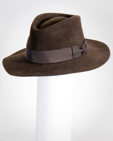 "F0377 David, suded finish felt, dk brown, 2 3/4"" brim, Headsize 22 1/2"""