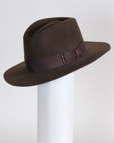 "F0378 David, sueded ifniish felt, dk brown, 2 3/4"" brim, Headsize 22 3/4"""