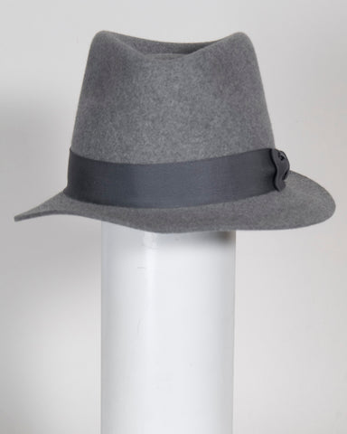 "F0381 Tall fedora, 5 1/2"" crown ht, grey tweed wool felt, 1 3/4"" brim, Headsize 22"""