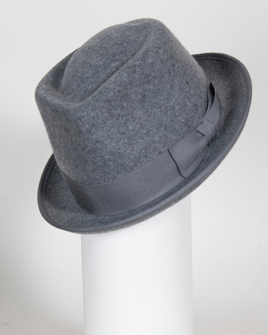 "F0384 Wayne, wool tweed, grey , 1 3/4"" brim, Headsize 21"""