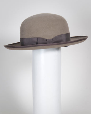"F0387 Small Preacher, suded finish felt, taupe w/ brown, 2 3/4"" brim, Headsize 22"""