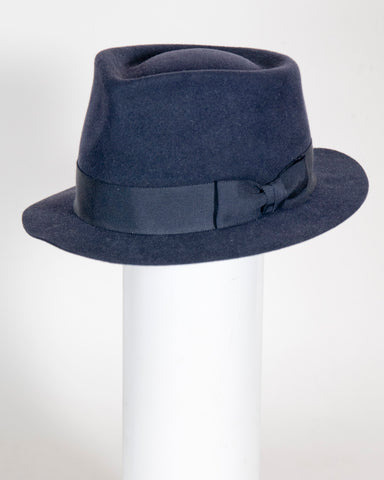 "F0394 Wayne, suded finish felt, navy, 1 3/4"" brim, Headsize 22 7/8"""
