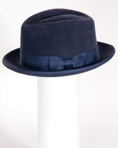 "F0396 David, sueded finish felt, navy, 2"" snap brim, Headsize 23 1/4"" (7 1/4)"