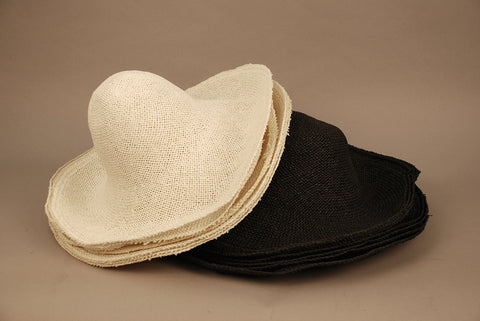 STC110  Straw hat bodies, 6 natural & 6 black, twisted one dozen (12)