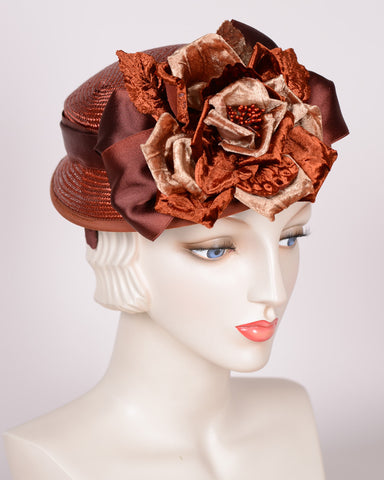 P987 Doll Hat, sisal, rust