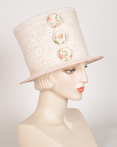 QH641 Top Hat, open weave, tea