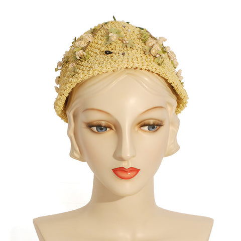 V983 Vintage: Mr. Milton New York, lemon popcorn toque, straw, 22.5""