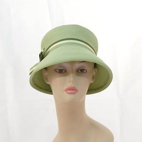 V987 Vintage: Evelyn Varon exclusive, green braid lampshade (can sit on top of head), 21.5""