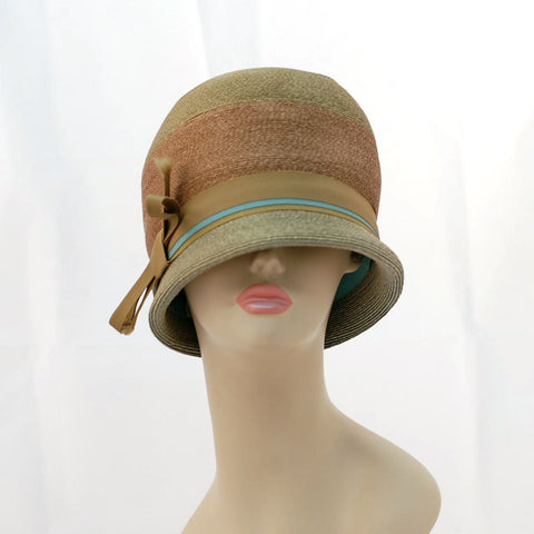 V988 Vintage: Schiaparelli, green/brown braid cloche, 22""