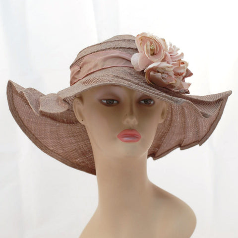 V989 Vintage: Tabrizi Designs, mauve pleated Parisisal, 22.25""