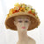V990 Vintage: lampshade, wheat w/ orange & yellow, one size (sits on top of head)