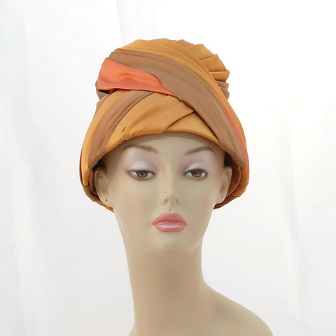 V994 Vintage: silk covered turban/toque, one size fits all