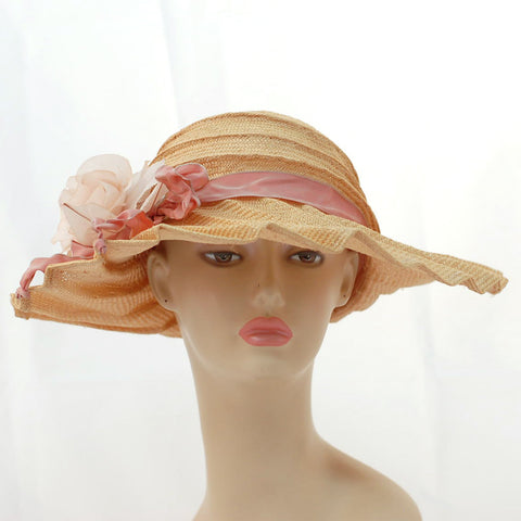 V995 Vintage: Tabrizi, Made in USA, ballet peach pleated Parisisal, 23""
