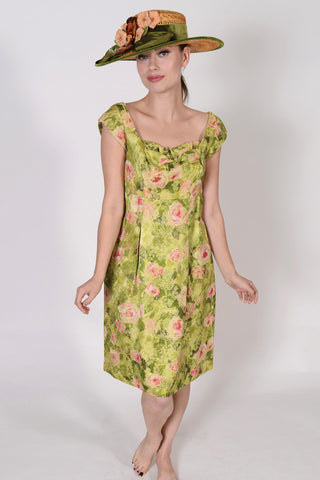 VC0792  Vintage 50's afternoon or cocktail dress, green & pink