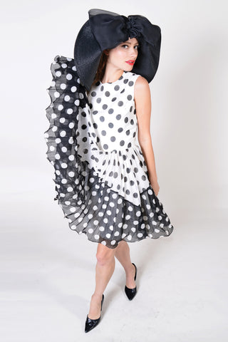 VC0797  60's Jack Bryan designed by Dupuis, white & black Polka-dot dress
