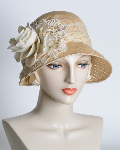 P926 Emily, vintage fancy sisal, fine weave, tea with ivory