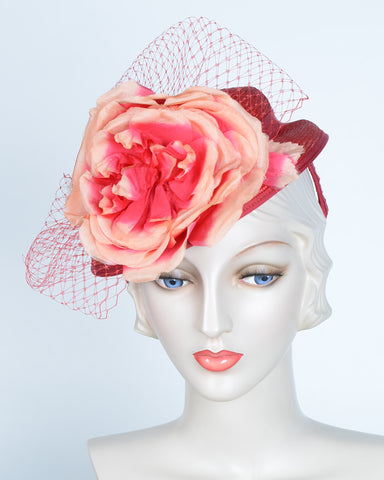 QH615 Doll Hat, sisal, Scarlet with peach