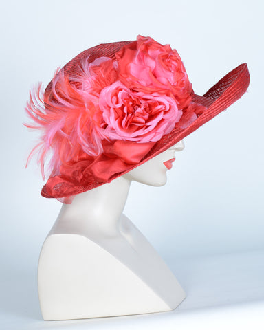 QH622 Kayla, sisal, scarlet with hot pink
