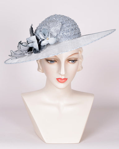 QH685 Special, vintage braid crown/sinamay brim, baby blue