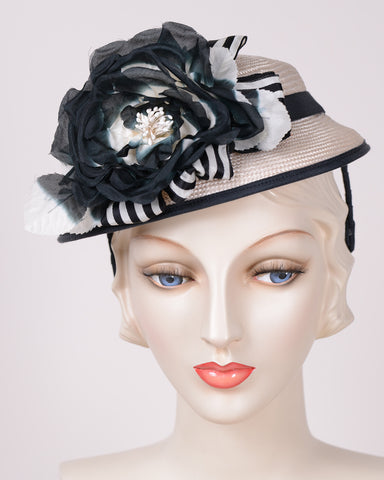 QH772 Doll Hat, sisal, white with black