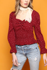 Moon River Smocked Waist Sweetheart Top