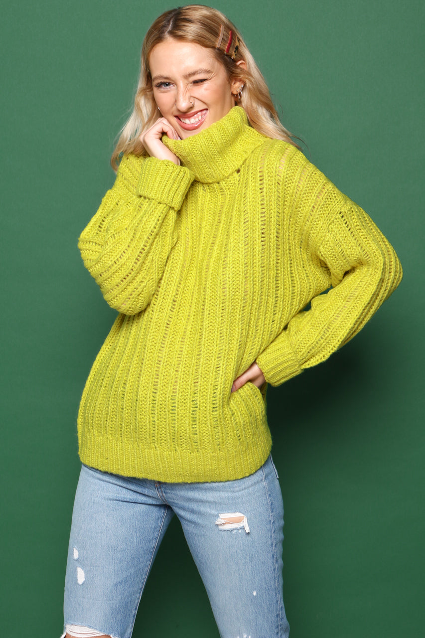 J.O.A Cable Knit Turtleneck Sweater