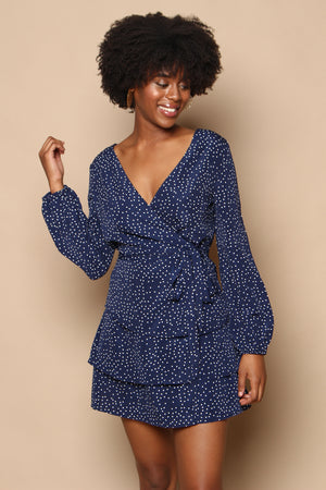 Polka Dot Wrap Dress - Navy
