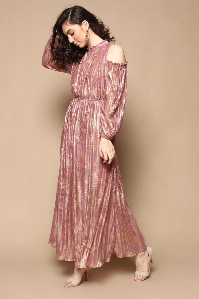 Moon River Cold Shoulder Maxi Dress - Rose Gold