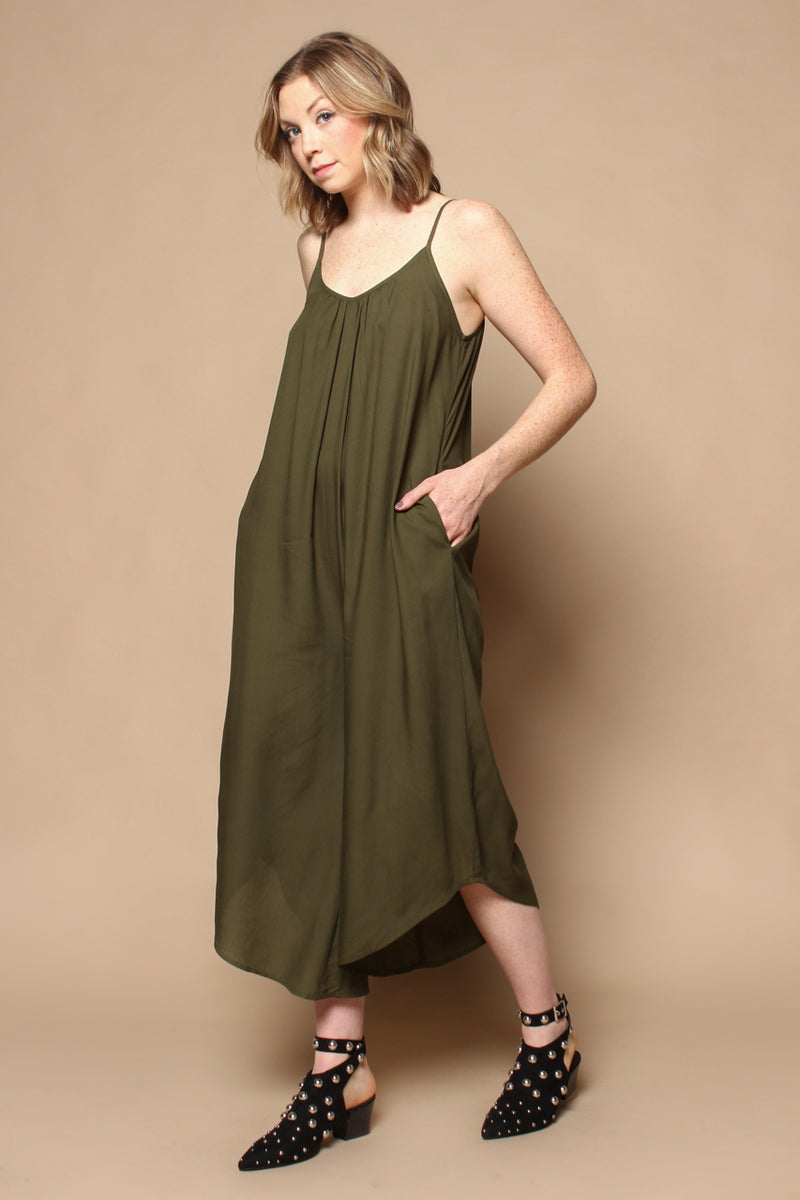 Cozy Cropped Jumpsuit - Olive